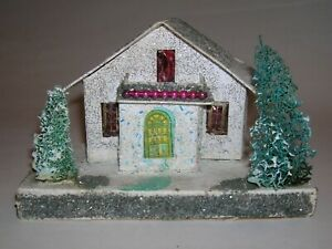 Vtg Christmas Putz Landscaped Cardboard House w/ Red Glass Beads Japan