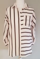 Womens New Look blouse shirt top in white pink grey stripes size 8 vgc.