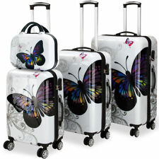 4 Pcs Monzana Butterfly Hardshell Suitcase Spinner Set - With Lock and Beauty
