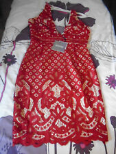 NWTAGS party dress in red lace with nude lining size 8 by MISSGUIDED