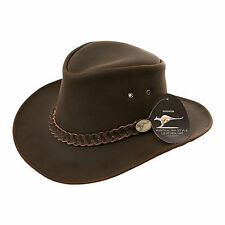 Australian Style Cowboy Hat Brown Leather Western Bush Hat 5 sizes