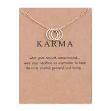 Karma Circle of Life Necklace Rose Gold Charm Gift Wish Card