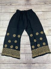 """Women Palazzo Pants Lucknow Beige Work on Black fits Plus Size Fits Max Hip 54"""""""
