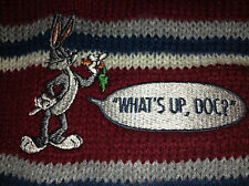 Bugs Bunny What's Up Doc? Vintage Knit Beanie Hat Cap Acme Clothing Claret Blue