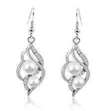 Luxury Vintage Style Silver & White Pearl Drop Dangle Earrings Bridal E871