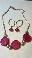 Antique Art Deco Red frosted Bead Necklace & Earring Set