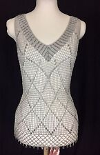 Silver Net Lace And Glass Bugle Bead Flapper Style Top. Small. Mint.