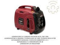 Generatore corrente inverte mod PMI 1000 alimentazione benzina potenza max W 100