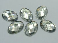 100 Clear Flatback Acrylic Rhinestone Oval Gem Beads 13X18mm No Hole