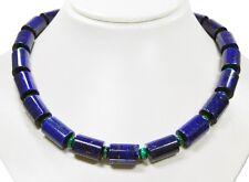 PRECIOSO CADENA de piedras Lapislázuli en forma cilindro con perlas