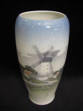 "Royal Copenhagen Denmark 4568 Dybboy Mill Landscape Vase, 6 3/4"" T X 3 1/2"" W"