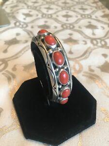 Orville Tsinnie vintage Navajo coral and sterling silver bracelet.