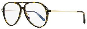 Tom Ford Blue Block Eyeglasses TF5586B 052 Dark Havana/Gold 56mm FT5586