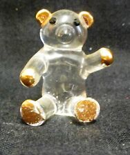 "Vintage 1.5"" Glass And Gold Teddy Bear Figure"