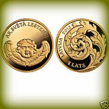 ANGEL CHURC 1 Lats Oh, holy Lestene Latvia Lettland 2013 gold coin PROOF Münzen