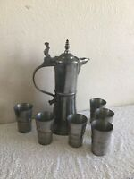 Antique Solid Heavy Pewter Set Of Jug And 6 Shot Cups Engraved/ Marked EBZ