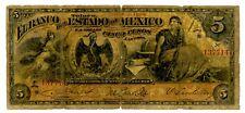 Mexico/Toluca . P-S329 N.L Year . 5 Pesos . Abril. 1900 . *Vg*.