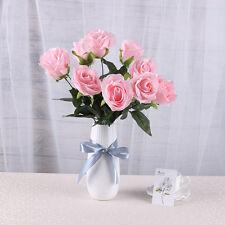 10 head french rose silk flower arrangement artificial fake bouquet wedding