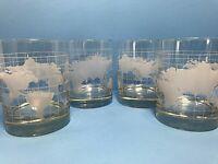 "4 Nestle Nescafe World Globe Glass Drinking Glasses 4"" Tumblers Heavy Etched VTG"