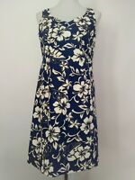 Hilo Hattie Womens Blue Floral Sleeveless Back Zipper Aloha Dress Size 10
