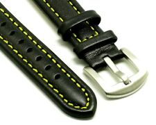 18mm Black/Yellow Quality Genuine Leather Watch Band With 2 Spring Bar