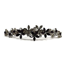 Hand Made Hair Jewelry Contrasting swarovski crystal Flower Barrette, Black