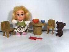 Vtg Hasbro Goldilocks Doll Set 1967. Little Kiddles. With Original Flyer.