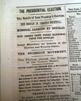 President ABRAHAM LINCOLN First Election Victory 1st Report 1860 Old Newspaper