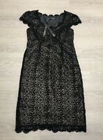 BNWT £75 NEXT SIGNATURE Black Lace Pencil Dress UK 10 scalloped edge Party