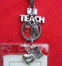 Teacher School Charms ID Badge Tag Key Holder Necklace Lanyard Crayons Apple ABC