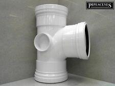 """UPVC 4"""" Soil Pipe 110mm Tee Branch - White Triple Female Socket"""