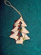 Birch Wood Styrofoam Hand Crafted Christmas Tree Ornament Made To Look Like