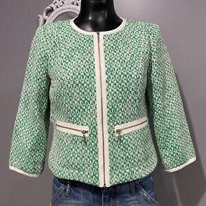 Size 6 Womans CAbi Green Clover Zip Front Career Jacket #726