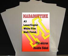 20 FOGLI a3 Laser & Fotocopiatrice BIADESIVO Matt White Film 150 Micron