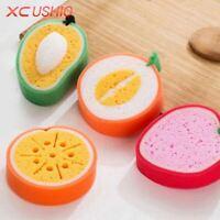 4pcs/set Cute Fruit Shape Microfiber Sponge Scouring Pad Cleaning Cloth Strong R