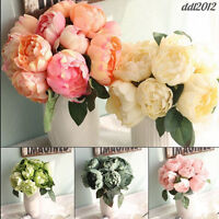 Bride Bouquet 6 Heads Artificial Peony Silk Flower Leaf Wedding Party Home Decor