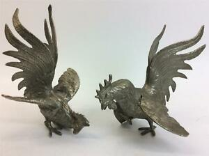 Pair Fighting Cocks Silver Metal Alloy