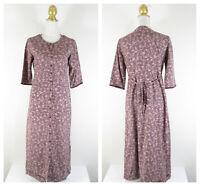 Eddie Bauer Petite Womens Purple Floral Modest Button Down Shirt Dress Size SP