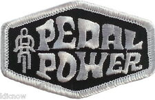 """PEDAL POWER (BICYCLE) EMBROIDERED PATCH 7CM x 4.4CM (2 3/4"""" X 1-3/4"""")"""