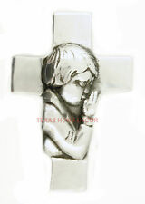 Wall Cross Child's Room Praying Boy Shiny Silver Color 5 ½ x3 ¾ in Communion