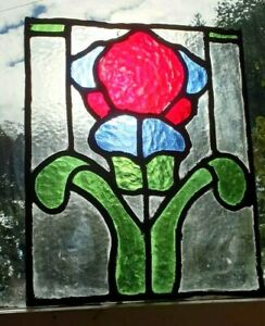STAINED GLASS WINDOW ART NOUVEAU LATE VICTORIAN ANTIQUE 1895 SCOTTISH MADE