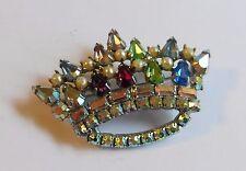 Vintage B David Mothers Crown Austrian Jeweled  Marquis Aurora Borealis Brooch