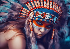 NATIVE AMERICAN INDIAN GIRL in Head dress * QUALITY CANVAS PRINT