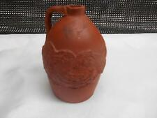 Old Vtg Asian Red Stoneware Jug Crock Oriental Dragon Relief Sculpture Pottery