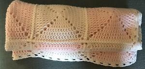 Crochet Baby Bassinet Cot Pram Shawl Blanket Beautiful Pastel Pink And White
