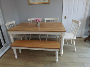 pine beechblock farmhouse kitchen dining table and chairs and bench cream
