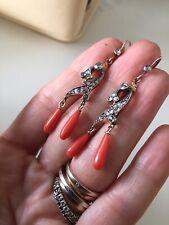 Antique Gold Earrings Coral Diamond orecchini antichi in oro Diamanti Corallo