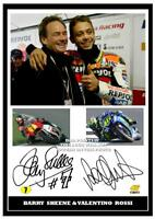 (no 57) BARRY SHEENE & VALENTINO ROSSI SUPERBIKES  MOTO GP SIGNED  PRINT SIZE A4