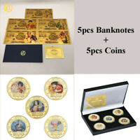 5pcs Anime One Piece Gold Banknote + 5 pcs Gold Coins in box For Collection gift