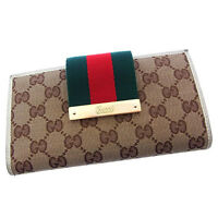 Gucci Wallet Purse Long Wallet G logos Beige Brown Woman Authentic Used P108